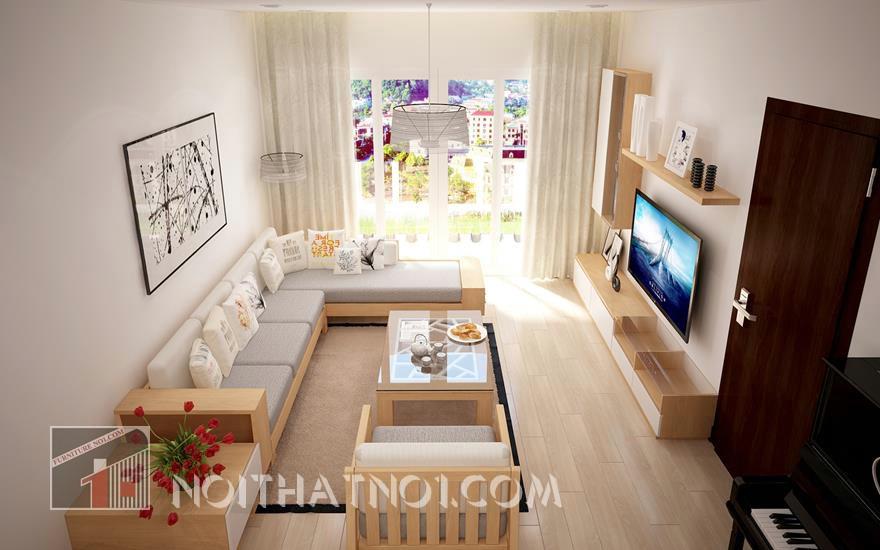 Bộ sofa gỗ phòng khách hiện đại
