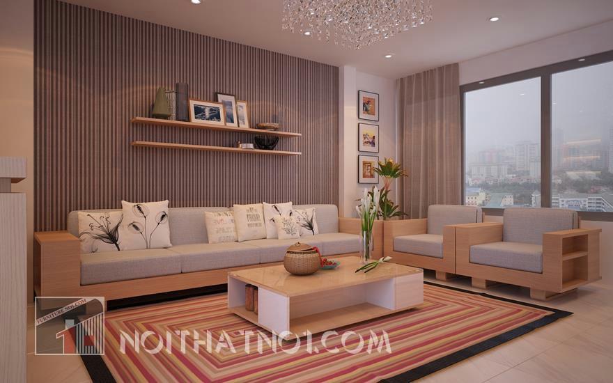mẫu sofa gỗ hiện đại