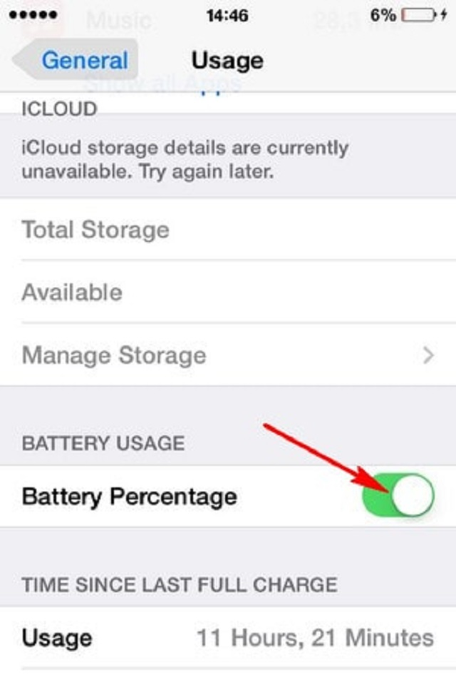 Kéo mục Battery percentage